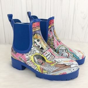 Jeffrey Campbell Cloudy Chelsea Rain Boot Comic